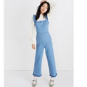 Madewell ruffle denim jumpsuit 0